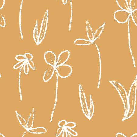 mustard textured botanical seamless vector pattern. vintage and retro inspired