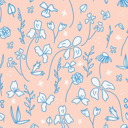 70s Peach hand drawn botanical seamless surface pattern design. Vintage inspired and artistic. 일러스트