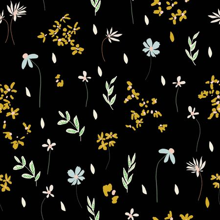 Expressive floral botanical seamless vector surface pattern design