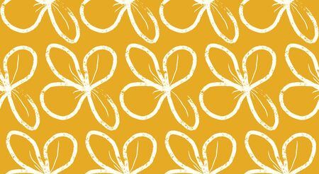 mustard loose floral vector seamless pattern