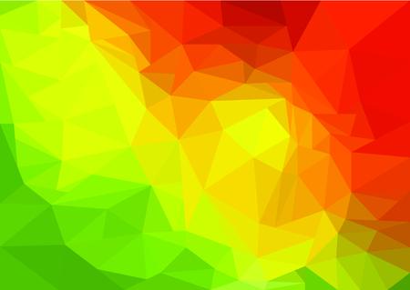 녹색, 노란색 및 빨간색 낮은 폴 리 예술 개요 일러스트