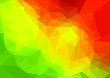 Low Poly Art abstract with green, yellow and red