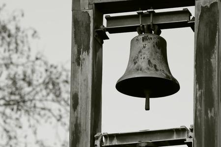 Dramatic aged church bells - monochrom Standard-Bild