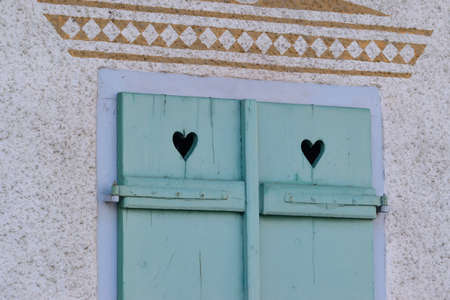 flaps: Beautiful window flaps with hearts Stock Photo