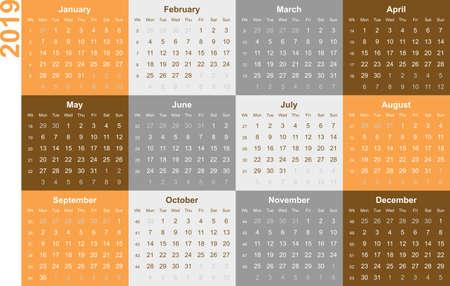 Orange colored calendar 2019 - english