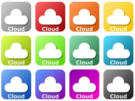 12 colored cloud logos Standard-Bild - 117796694