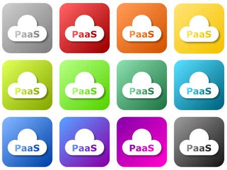 12 colored cloud logos - platform as a service Standard-Bild - 117796707