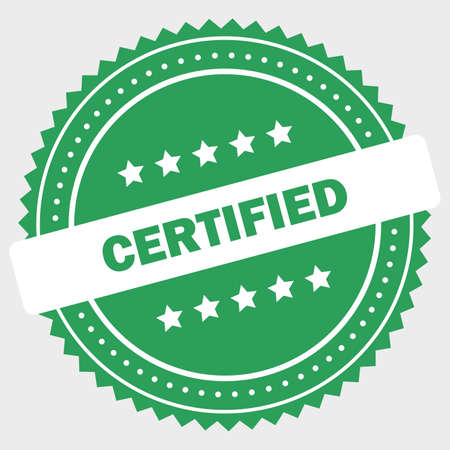 Simple certified logo design stamp Standard-Bild - 117796816