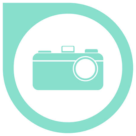 Simple camera logo in circle pointer - cyan Illustration