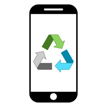 Simple smartphone recycling logo design concept
