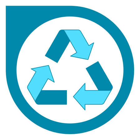 Simple blue recycling logo design