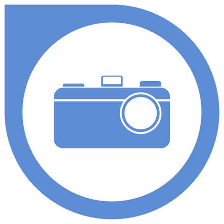 Simple camera logo in circle pointer - blue
