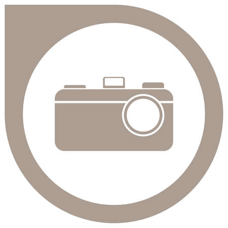 Simple camera logo in circle pointer - grey Standard-Bild - 117796870