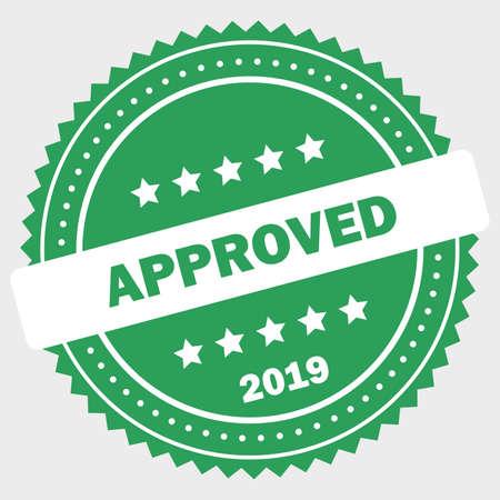 Simple approved logo design stamp Standard-Bild - 117796889