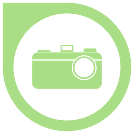 Simple camera logo in circle pointer - green