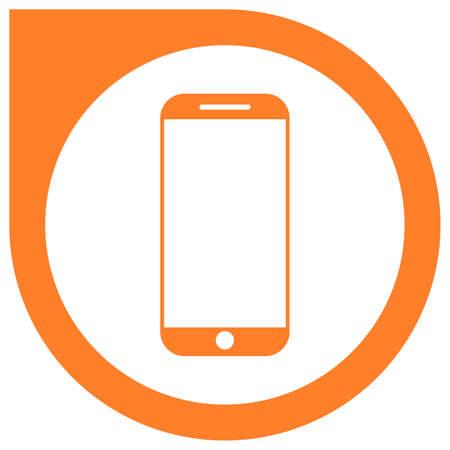 Simple orange smartphone vector icon Illustration