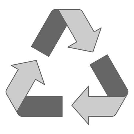 Simple grey recycling logo design Illustration