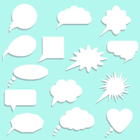 halfone: speech bubbles with shadow set  vector illustration Illustration