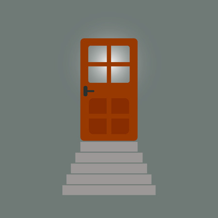 doorhandle: staircase to the door behind which light.  Illustration
