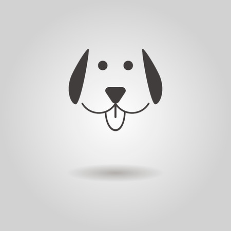 dog icon with shadow illustration Vectores