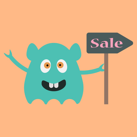 funny monster with sale sign illustration Vector