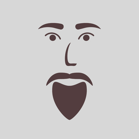icon of a bearded man illustration Illustration