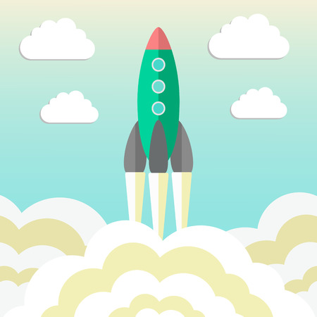 rocket takes off and concept of startup business. vector illustration Vector
