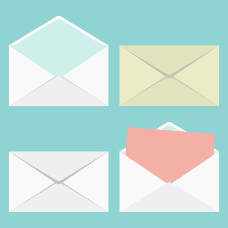 set of closed and open envelopes. vector illustration Vector