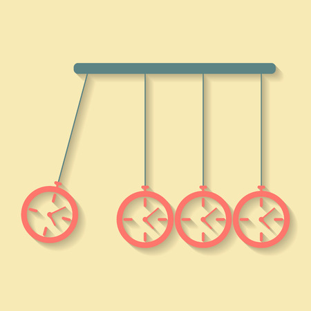 procrastination: Newtons Cradle concept of procrastination with alarms. vector illustration