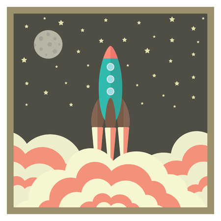 vapor trail: rocket takes off at night and business startup concept in retro style. vector illustration