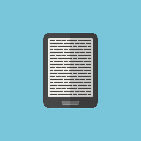 e-book reader icon in flat style. isolated on blue background. vector illustration Vector