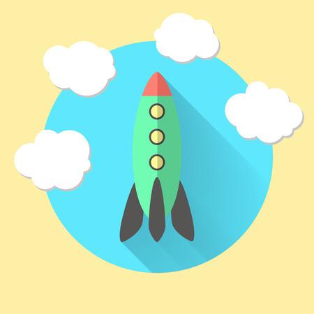 vapor trail: rocket and clouds, run a business concept. flat design modern vector illustration Illustration