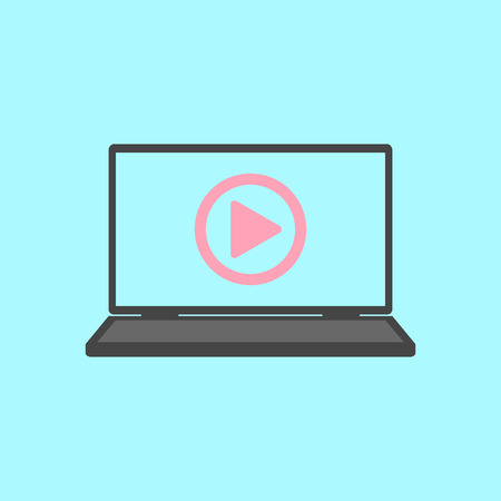 laptop with play icon. flat design modern vector illustration
