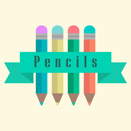 chancellery: set of pencils with a ribbon. flat design modern vector illustration