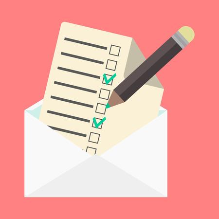 open envelope and check list. flat design modern vector illustration Illustration