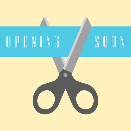soon: open concept, scissors cut the ribbon. flat design modern vector illustration