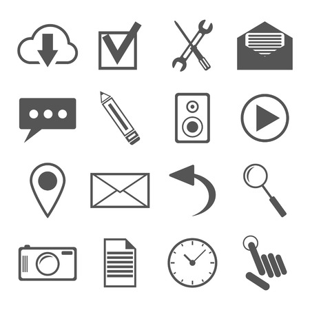 black and white icons set for web and mobile applications. isolated on white background. vector illustration Vector
