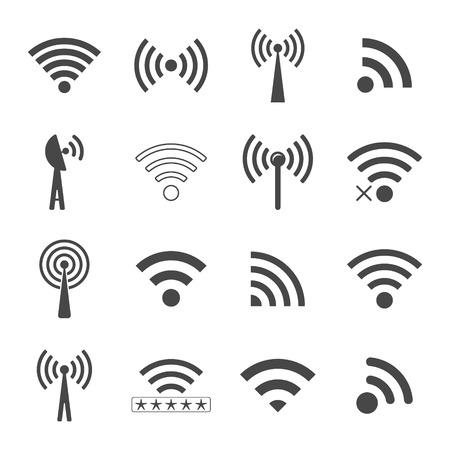remote lock: conjunto de diferentes iconos inal�mbricos negros, concepto de la comunicaci�n y el acceso remoto. Vectores