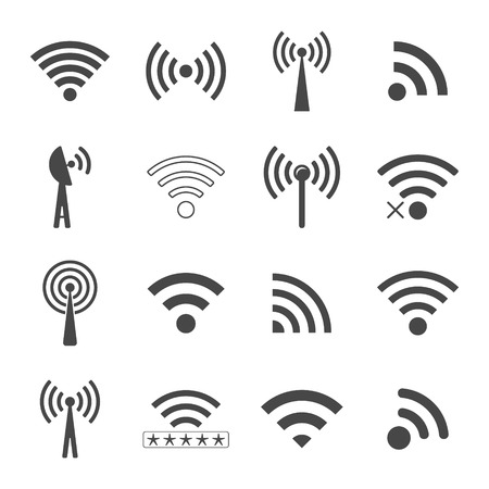 set of different black wireless icons, concept of communication and remote access. Ilustração