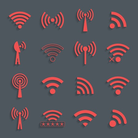 wifi access: set di diverse icone rosse wifi vettore per la comunicazione e l'accesso remoto. illustrazione vettoriale