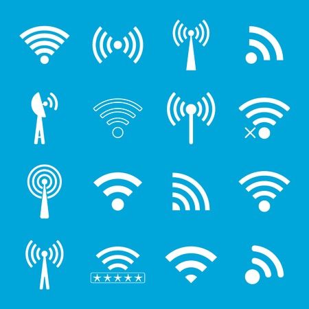 set of white wifi icons on blue background. vector illustration Vector
