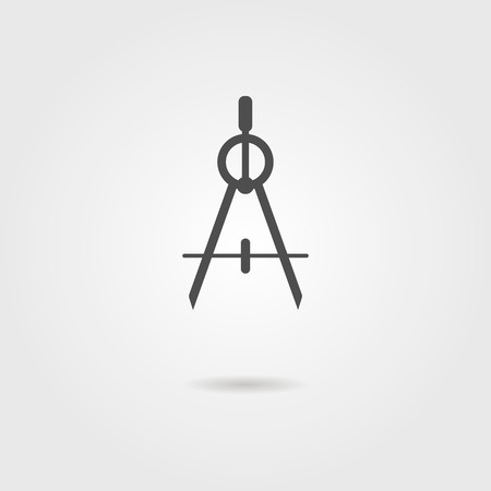 compasses icon with shadow. isolated on grey stylish background. modern vector illustration