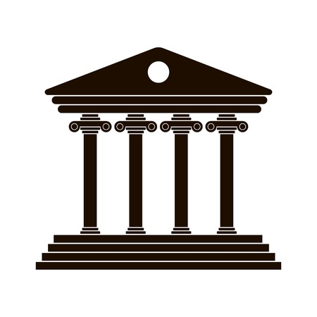 univercity: black Greek colonnade. trendy modern vector illustration