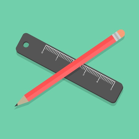 chancellery: pencil and ruler on green background. flat design modern vector illustration Illustration
