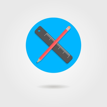 chancellery: pencil and ruler in the circle with shadow. flat design modern vector illustration