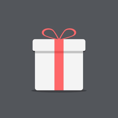 white gift box icon on dark background. flat design modern vector illustration Ilustração