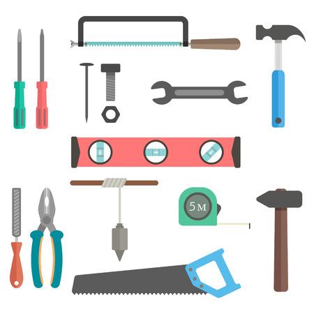 herramientas de construccion: un conjunto de herramientas en el fondo blanco. diseño plano moderna ilustración vectorial Vectores