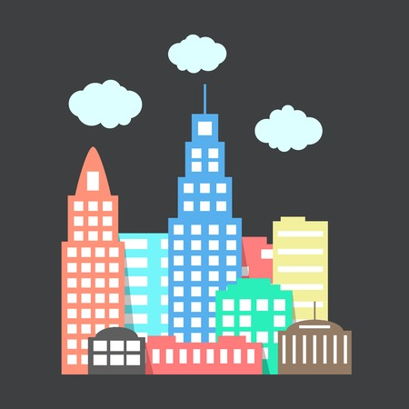 project property: flat style city with clouds on dark background. vector illustration