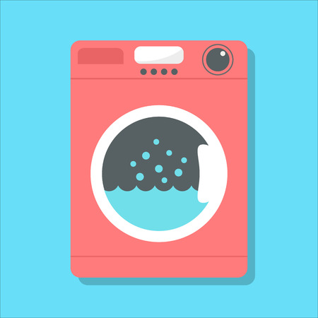 washing: red washing machine in flat style. isolated on blue background. vector illustration