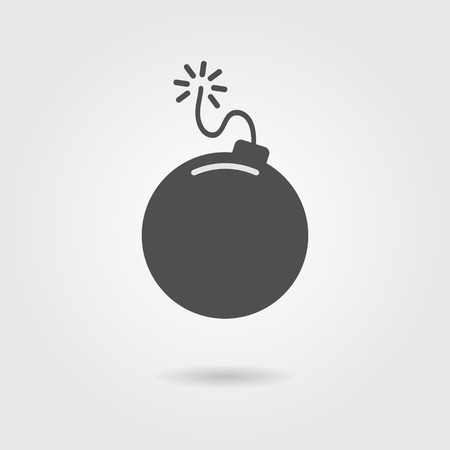 bomb icon with shadow. isolated on grey background. modern vector illustration